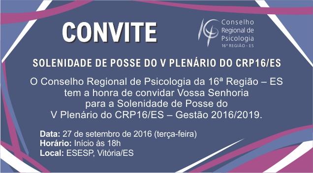 Participe da posse do V Plenário do CRP-16 no dia 27 de setembro